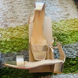 Shoes - NIB Gold Square Toe Low sandal Heels